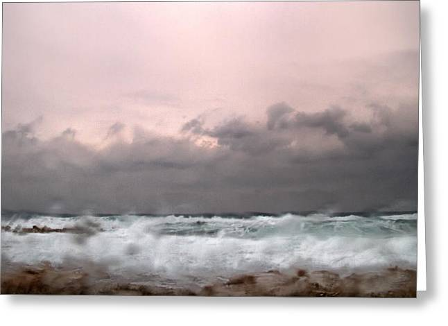 Wet Greeting Cards - Window Sea Storm  Greeting Card by Stylianos Kleanthous
