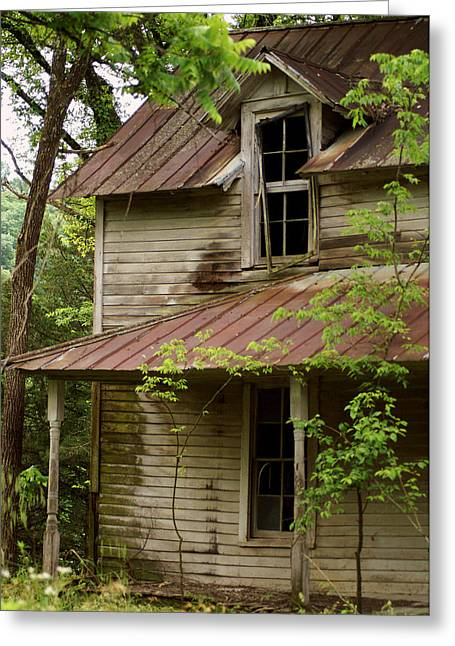 Tin Roof Greeting Cards - Windows to the Past Greeting Card by TnBackroads Photography