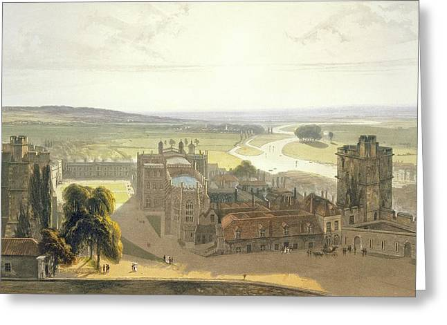 Fortified Wall Greeting Cards - Windsor Castle, From A Compilation Greeting Card by William Daniell