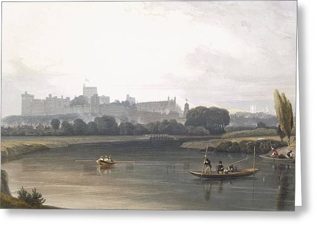 Punting Greeting Cards - Windsor Castle From The River Thames Greeting Card by William Daniell