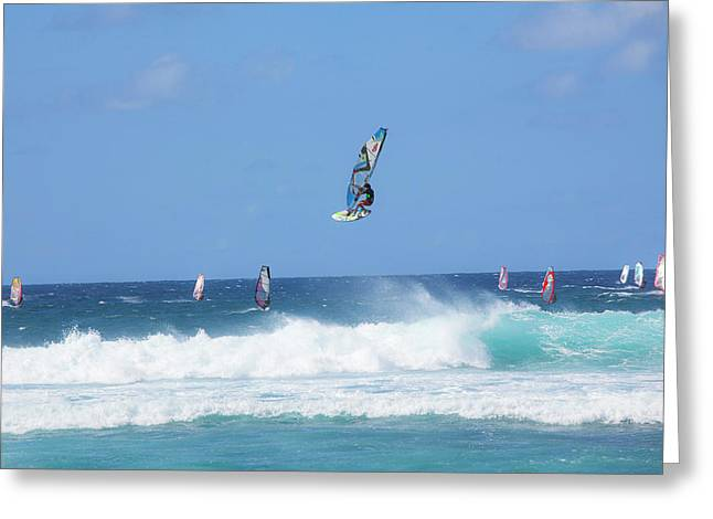 Windsurfing, Hookipa Beach Park, Maui Greeting Card by Douglas Peebles