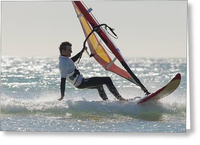 Windsurfing Los Lances Beach Tarifa Greeting Card by Ben Welsh