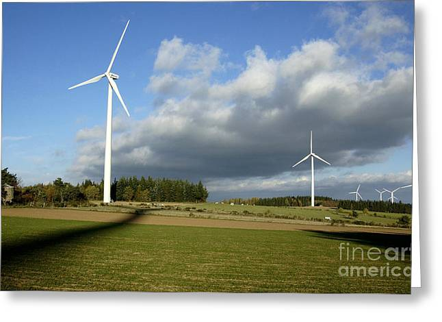 Generators Greeting Cards - Windturbines Greeting Card by Bernard Jaubert