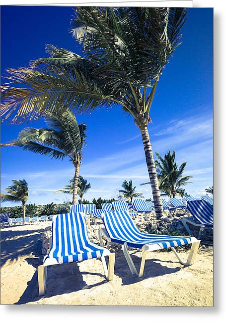 Empty Chairs Digital Greeting Cards - Windy Day at the Beach Greeting Card by Susan Stone