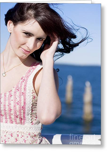Breezy Greeting Cards - Windy Hair Woman Greeting Card by Ryan Jorgensen