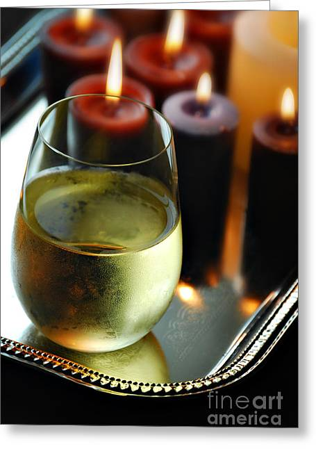 Wick Greeting Cards - Wine And Candles Greeting Card by HD Connelly