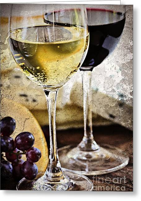Assorted Greeting Cards - Wine and cheese Greeting Card by Elena Elisseeva