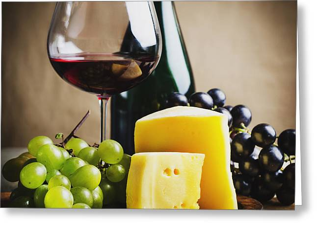 Table Wine Greeting Cards - Wine and cheese Greeting Card by Jelena Jovanovic