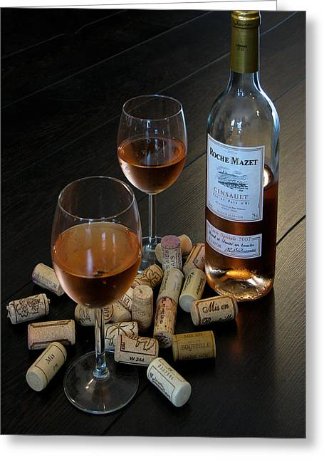 Hardwood Flooring Greeting Cards - Wine and Corks Greeting Card by Douglas J Fisher