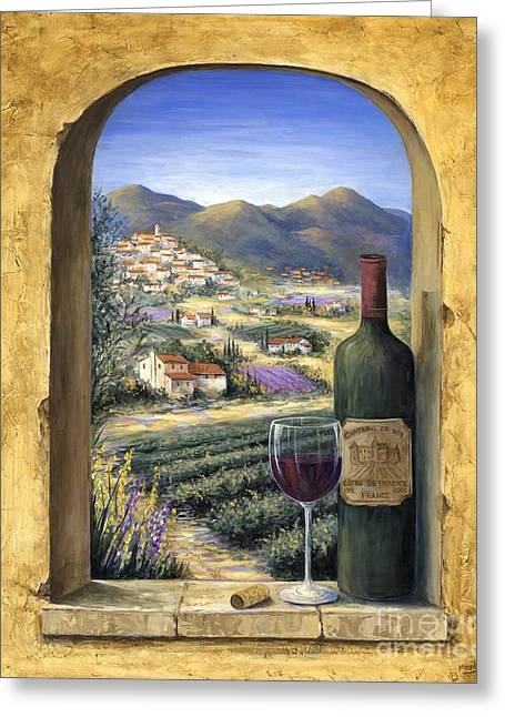 Wine-bottle Greeting Cards - Wine and Lavender Greeting Card by Marilyn Dunlap
