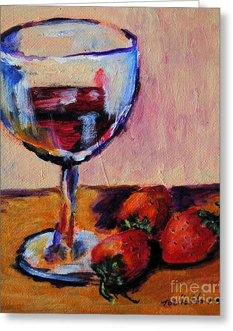 Red Wine Prints Greeting Cards - Wine and Strawberries Greeting Card by Toelle Hovan