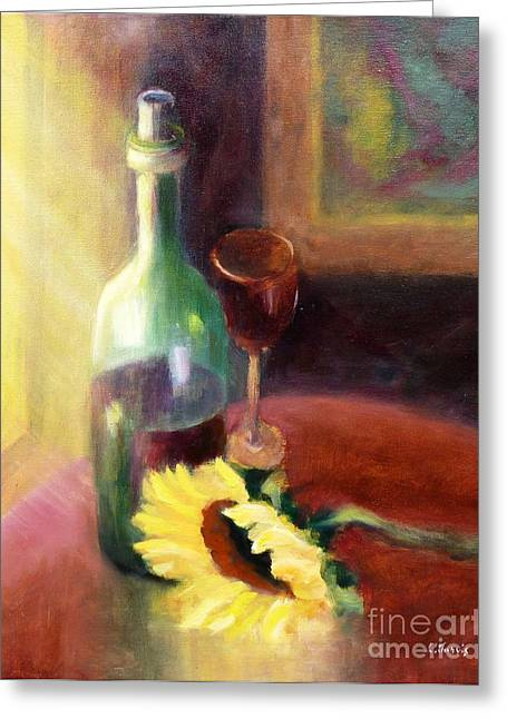 Red Wine Prints Greeting Cards - Wine and Sunflower Greeting Card by Carolyn Jarvis