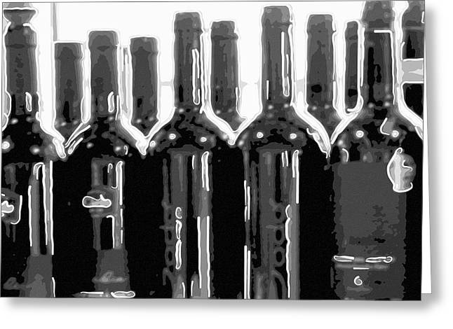 Fizz Greeting Cards - Wine bottles Greeting Card by Toppart Sweden