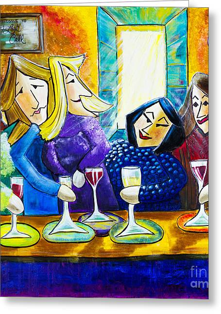 Wine Tour Greeting Cards - Wine Buddies The Last Call Greeting Card by Angela Nuttle