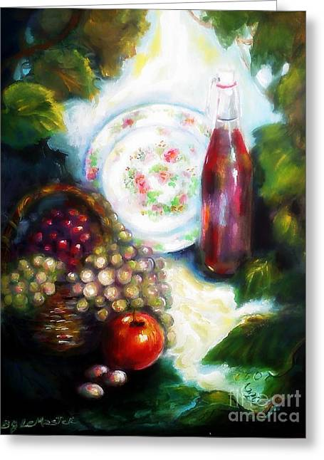 Wine Flowing Greeting Cards - Wine Country Still Life Greeting Card by Barbara LeMaster