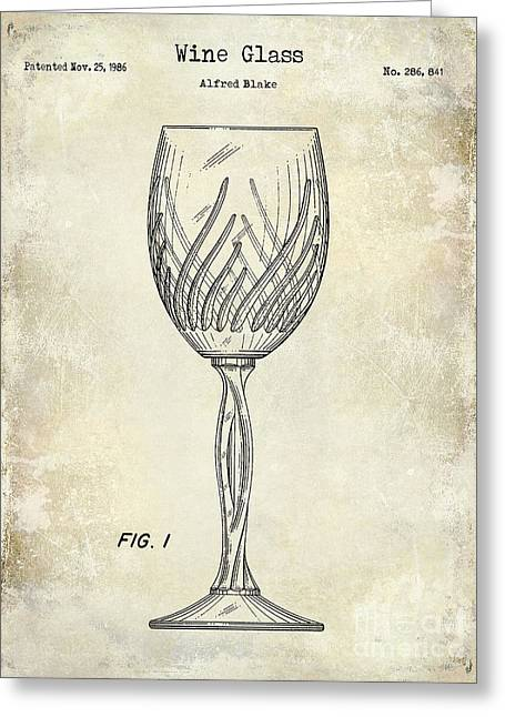 Wine Vineyard Greeting Cards - Wine Glass Patent Drawing Greeting Card by Jon Neidert