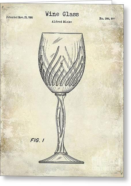 Wine Glass Patent Drawing Greeting Card by Jon Neidert