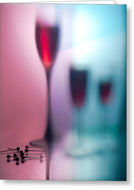 Glass Bottle Greeting Cards - Wine glasses with red wine Greeting Card by   larisa Fedotova