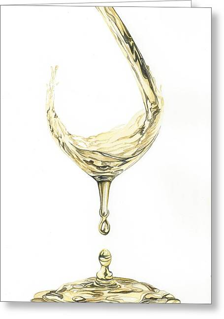 Wine Pouring Paintings Greeting Cards - Wine Pouring Greeting Card by Julie Senf
