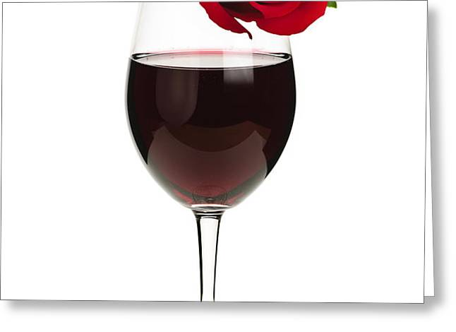 Wine with red rose Greeting Card by Elena Elisseeva