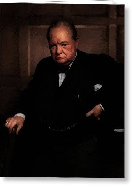 Statesman Mixed Media Greeting Cards - Winston Churchill Greeting Card by Michael Braham