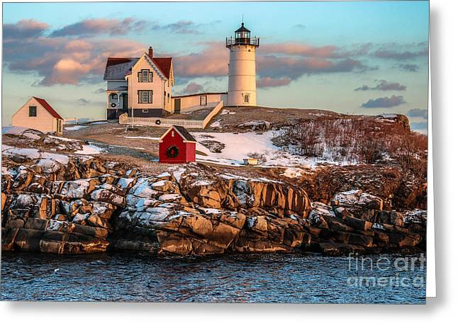 Cape Neddick Greeting Cards - Winter At Nubble Light Greeting Card by Scott Moore