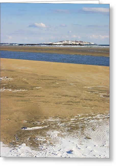 New England Snow Scene Greeting Cards - Winter at Popham Beach State Park Maine Greeting Card by Keith Webber Jr