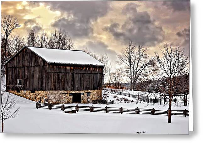 Snow Tree Prints Greeting Cards - Winter Barn  Greeting Card by Steve Harrington