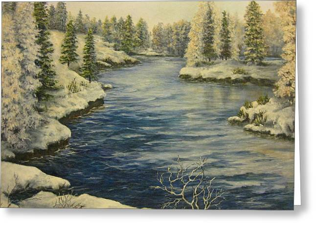 Babbling Paintings Greeting Cards - Winter Blues Greeting Card by Carol Bitz