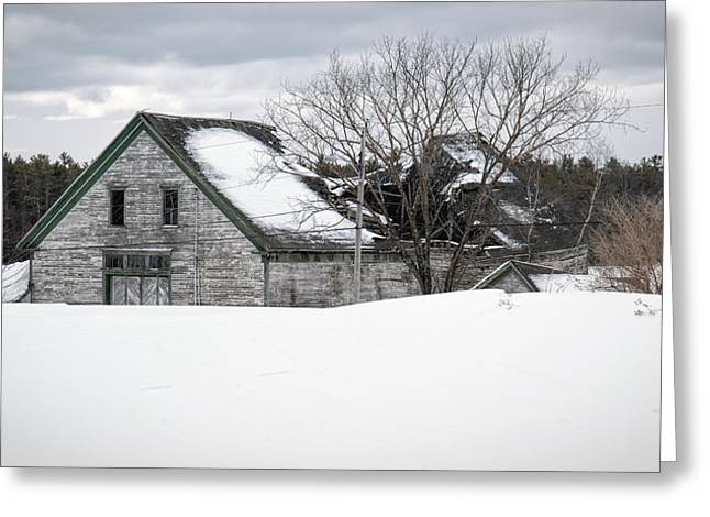 Old Maine Barns Greeting Cards - Winter Burden Greeting Card by Richard Bean
