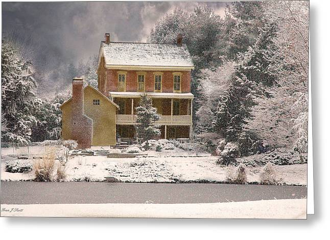 Old Farm House Greeting Cards - Winter Farm House Greeting Card by Fran J Scott