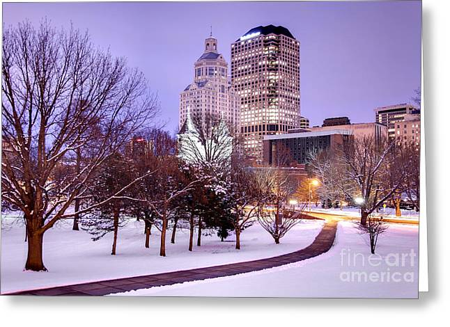 Best Sellers -  - New England Snow Scene Greeting Cards - Winter in Hartford Greeting Card by Denis Tangney Jr