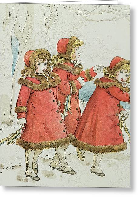 Skaters Greeting Cards - Winter Greeting Card by Kate Greenaway