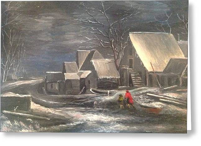 Snowy Evening Paintings Greeting Cards - Winter Landscape Greeting Card by Egidio Graziani