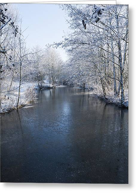Snowy Stream Greeting Cards - Winter Landscape Greeting Card by Svetlana Sewell