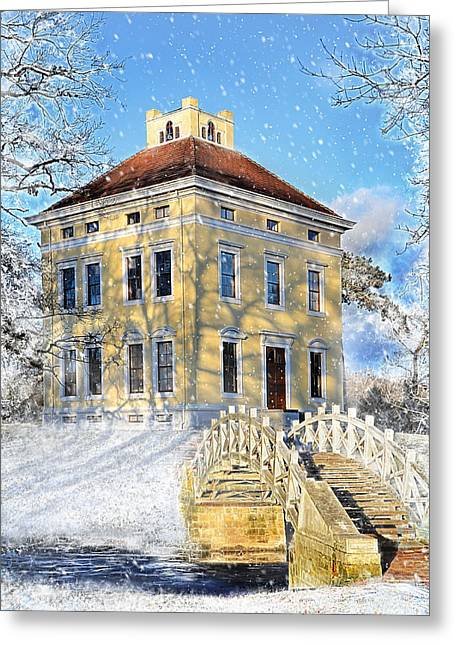 Winter Landscape With A Bridge Over The River And Interesting Home Greeting Card by Gynt