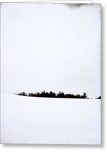 Snow Covered Field Greeting Cards - Winter Minimalism Greeting Card by Edward Fielding