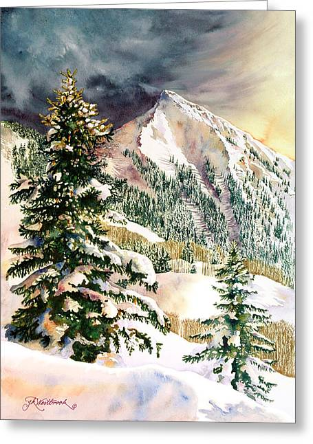 Skiing Prints Paintings Greeting Cards - Winter Morning Prism Greeting Card by Jill Westbrook