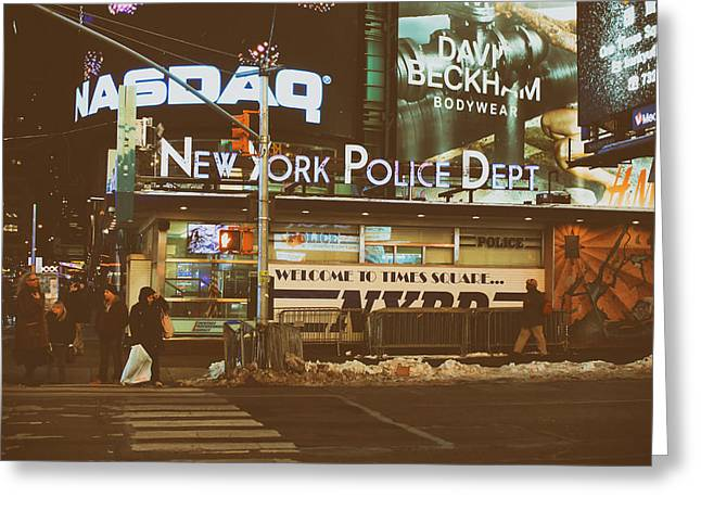 Law Enforcement Greeting Cards - Winter Night in New York City Greeting Card by Mountain Dreams