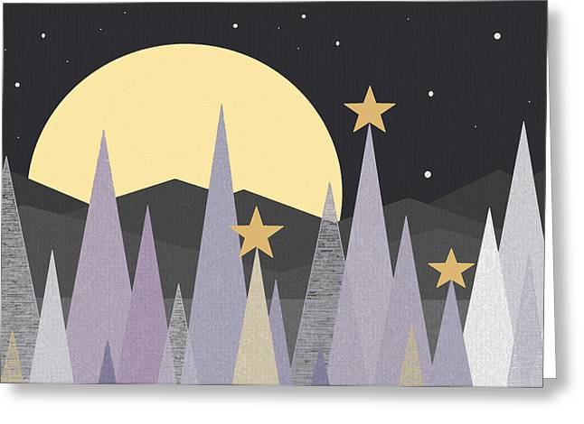 Winter Scene Digital Art Greeting Cards - Winter Nights  Greeting Card by Val Arie