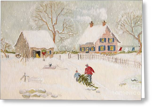 Winter Roads Digital Art Greeting Cards - Winter scene of a farm with people/ digitally altered Greeting Card by Sandra Cunningham