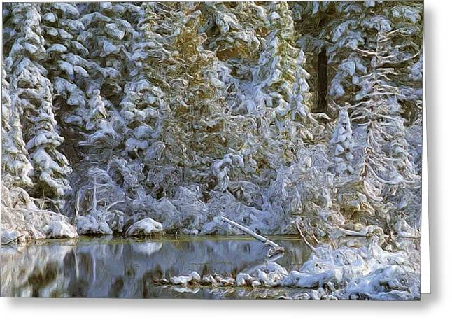 Trees Reflecting In Creek Digital Greeting Cards - Winter Scene Greeting Card by Pat Now