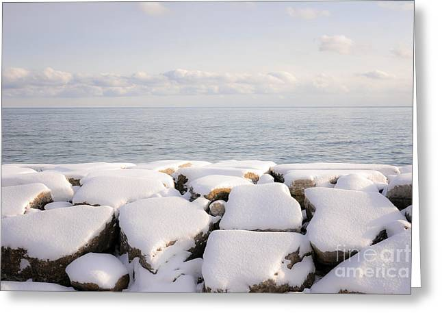 Boulder - Rock Greeting Cards - Winter shore of lake Ontario Greeting Card by Elena Elisseeva