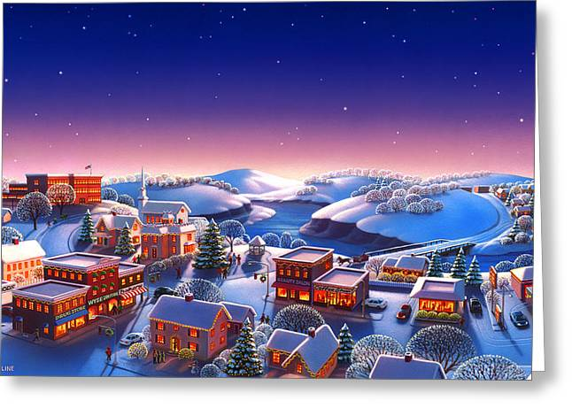 Robin Moline Greeting Cards - Winter Town Greeting Card by Robin Moline