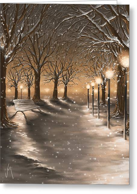 Winter Park Greeting Cards - Winter Greeting Card by Veronica Minozzi