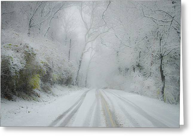 Snowy Roads Digital Art Greeting Cards - Winter Wonderland Greeting Card by Bill Cannon