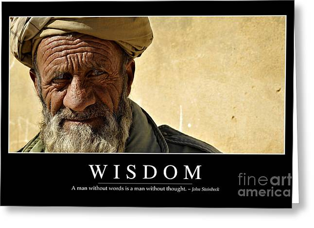 Qalat Greeting Cards - Wisdom Inspirational Quote Greeting Card by Stocktrek Images