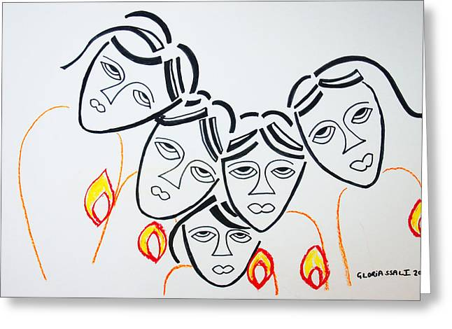 Parable Greeting Cards - Wise Virgins Greeting Card by Gloria Ssali