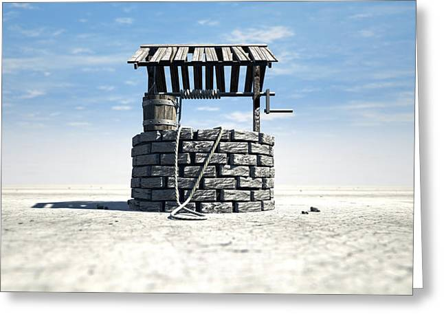 Wishes Digital Art Greeting Cards - Wishing Well With Wooden Bucket On A Barren Landscape Greeting Card by Allan Swart