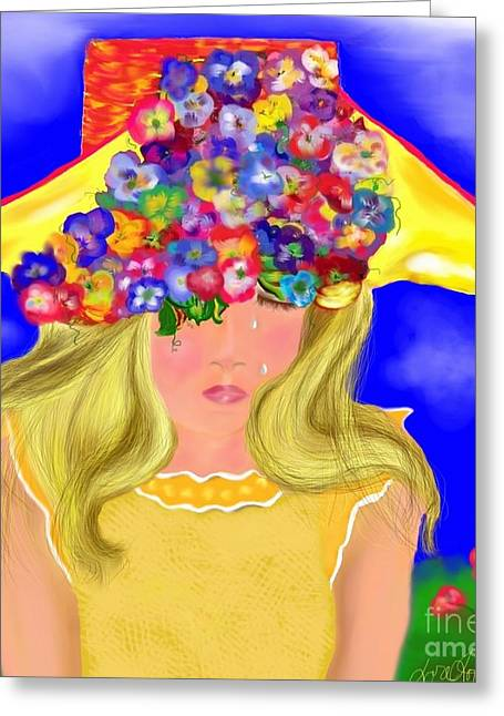 Femal Portrait Greeting Cards - Wishing You Were Here Greeting Card by Lori  Lovetere